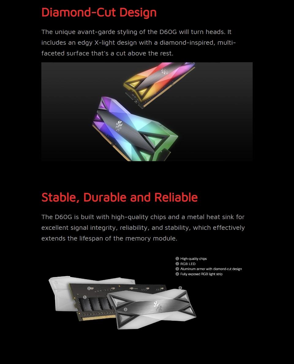 ADATA XPG Spectrix D60G RGB 3200 MHz 16GB (2x8GB) DDR4 Grey features 2