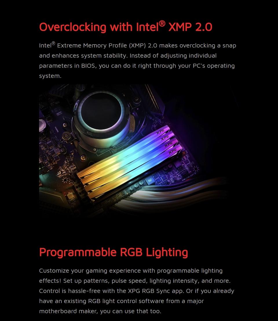 ADATA XPG Spectrix D60G RGB 3200 MHz 16GB (2x8GB) DDR4 Grey features 3