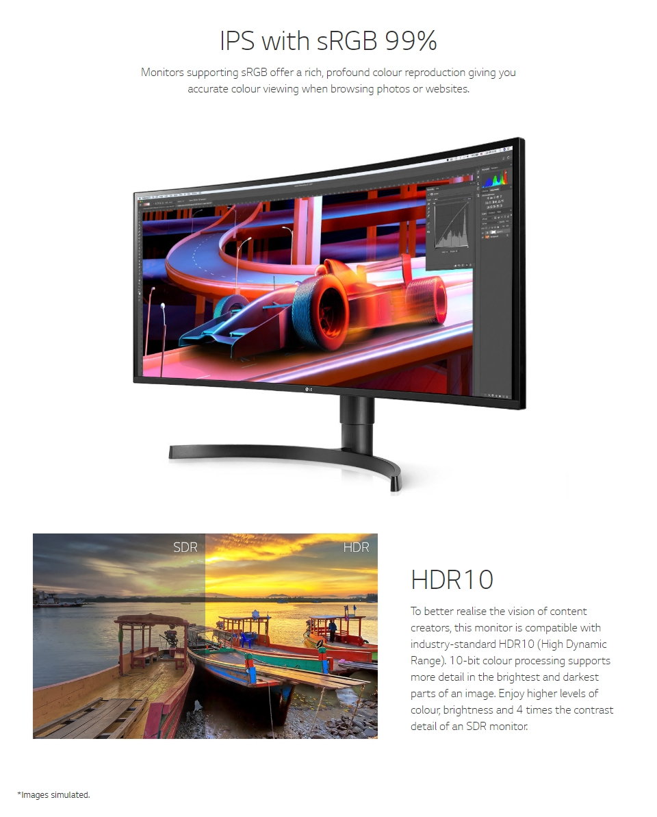 LG 34WL85C-B UWQHD HDR10 sRGB IPS Curved 34in Monitor features 2