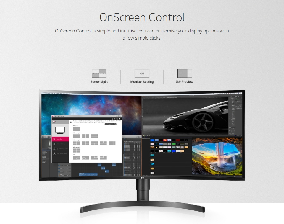 LG 34WL85C-B UWQHD HDR10 sRGB IPS Curved 34in Monitor features 3
