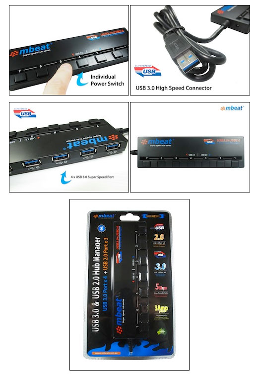 USB-M43HUB mbeat 7-Port USB 3.0 And USB 2.0 Hub Manager with Switches