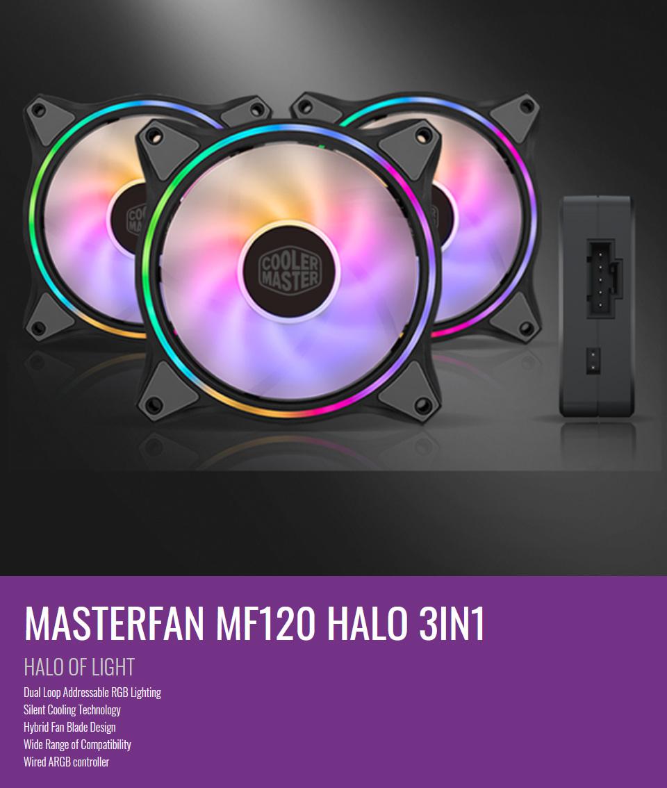 Cooler Master MasterFan MF120 Halo ARGB 120mm 3 Fan Kit features