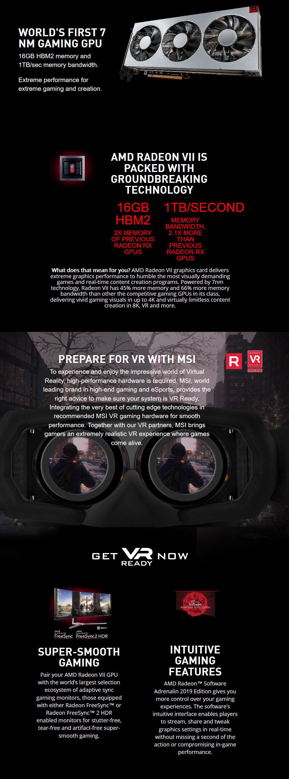 MSI Radeon VII 16GB [MSI-RADEON-VII-16G] : PC Case Gear