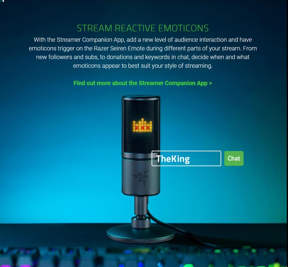 Razer Seiren Emote USB Desktop Microphone features