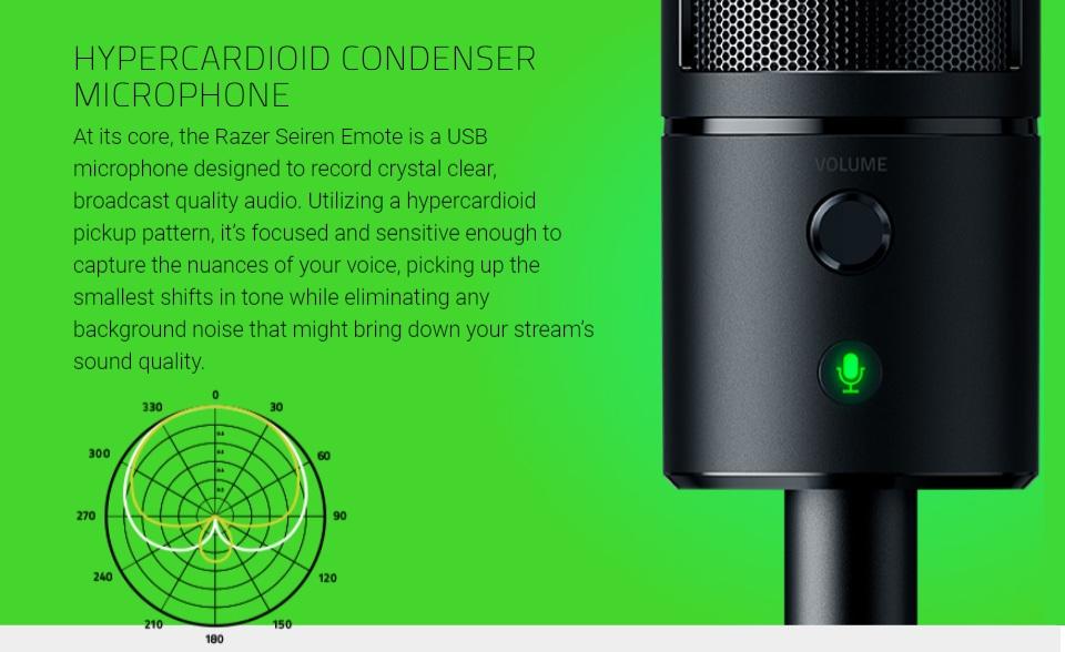 Razer Seiren Emote USB Desktop Microphone features 3