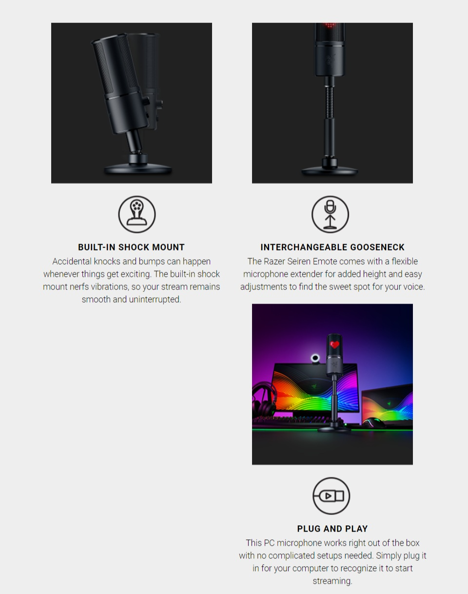 Razer Seiren Emote USB Desktop Microphone features 4