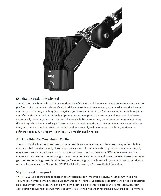 RODE NT-USB Mini Studio-Quality USB Microphone features