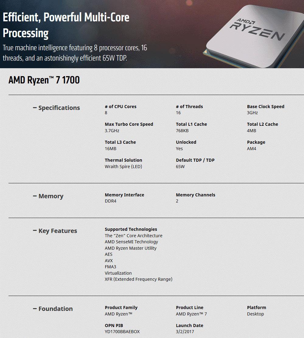 AMD Ryzen 7 1700 Processor with Wraith Spire RGB Fan