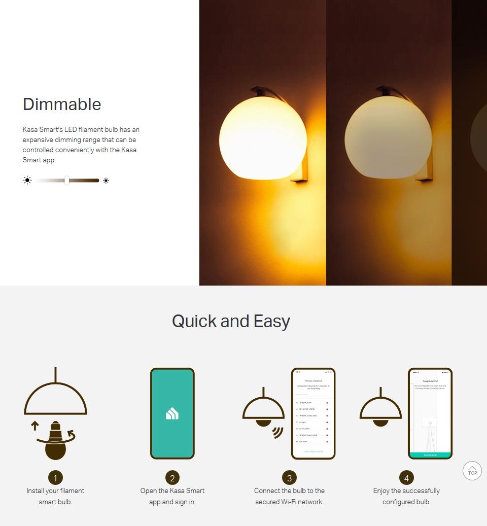 TP-Link KL50 Soft White Filament Smart Wi-Fi LED Bulb featrues 4