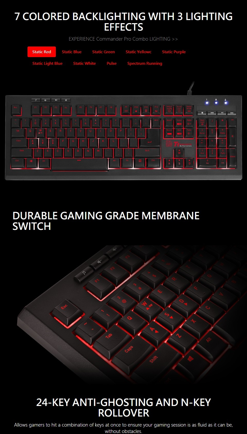 Tt eSPORTS Commander Pro Gaming Keyboard and Mouse Combo features