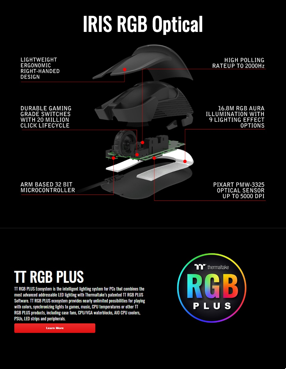 Tt eSPORTS Iris Optical RGB Gaming Mouse features