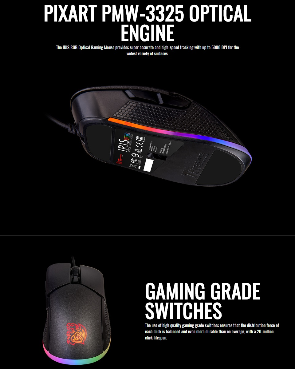 Tt eSPORTS Iris Optical RGB Gaming Mouse features 3