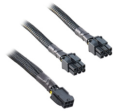 CableMod Single Sleeve 6-Pin PCI-E Y Splitter Black 30cm
