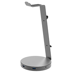 Flujo AH-2 Headphone Stand with USB 3.0 Hub and AUX Grey