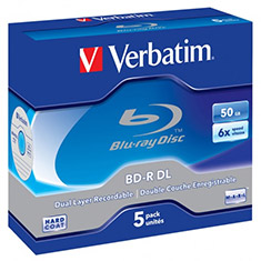 Verbatim BD-R DL 50GB with Jewel Case 6x 5 Pack