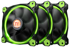 Thermaltake Riing 12 High Static Pressure Green LED Fan 3 Pack