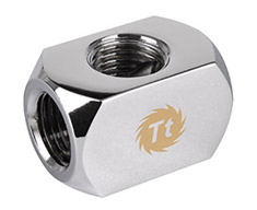 Thermaltake Pacific 4-Way G1/4 Connector Block Chrome