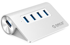 Orico M3H4 4 Port USB 3.0 Aluminium Hub Silver