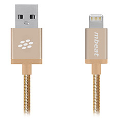 mbeat ToughLink MFI Metal Coiled Lightning Cable Gold 1.2m
