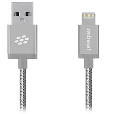 mbeat ToughLink MFI Metal Coiled Lightning Cable Silver 1.2m