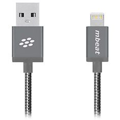 mbeat ToughLink MFI Metal Coiled Lightning Cable Space Gray 1.2m