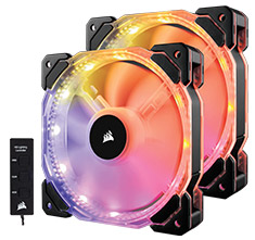 Corsair HD140 RGB LED 140mm PWM Fan Twin Pack with Controller