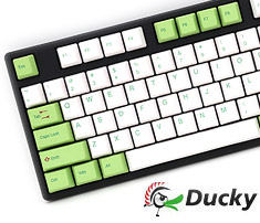 Ducky One White Green PBT Dye-Sub Mech Keyboard Cherry Blue