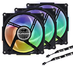 In Win Aurora RGB Fan Black/White 3 Pack + 2x30cm RGB LED Strips