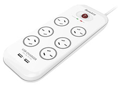 Huntkey 6 Outlet Surge Protected Powerboard with 2x USB Ports