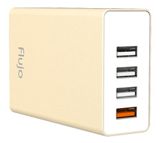 Flujo PW-1Q 4 Port USB Charger with QC3.0 Port Gold