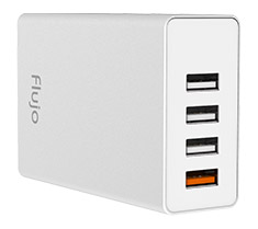 Flujo PW-1Q 4 Port USB Charger with QC3.0 Port Grey