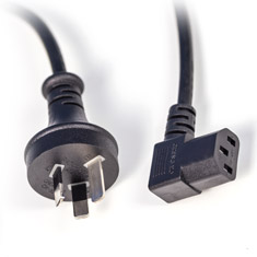 PCCG AU Power Cable Plug C13 IEC 90 Degree 2m Black