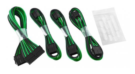 CableMod Basic ModFlex Cable Extension Kit Black/Green (6+2Pin)