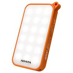 ADATA D8000L 8000mAh Power Bank with LED Lamp Orange