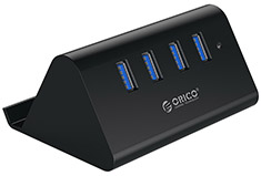 Orico 4 Port USB 3.0 Hub with Phone & Tablet Stander - Black