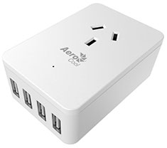 Aerocool 4 Port USB Wall Charger with Surge Protection