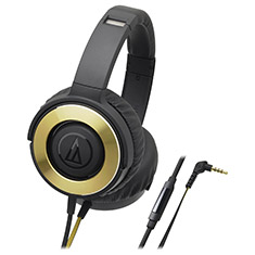 Audio-Technica ATH-WS550iS Solid Bass Headphones Black Gold