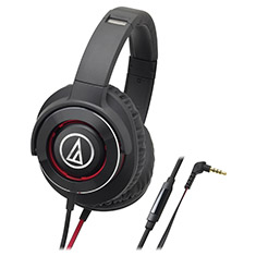 Audio-Technica ATH-WS770iS Solid Bass Headphones Black Red