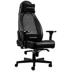noblechairs ICON PU Leather Gaming Chair Black Platinum White