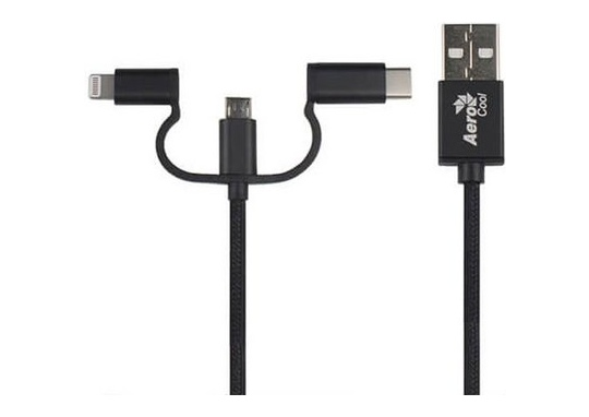 Aerocool 3-in-1 Charging Cable with Lightning Micro and Type-C