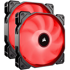 Corsair Air Series AF140 Quiet 140mm Fan Red LED 2 Pack