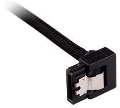 Corsair Premium Sleeved SATA Cable 90 Degree 30cm Black 2-Pack