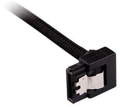 Corsair Premium Sleeved SATA Cable 90 Degree 60cm Black 2-Pack