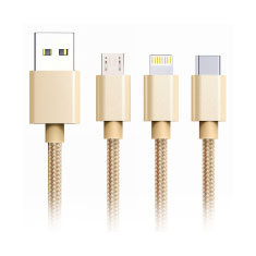 XiPin LX09 Braided Multi Micro Lighting USB-C Cable 1.2M Gold