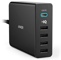 Anker PowerPort 5 Ports USB-C Wall Charger Black