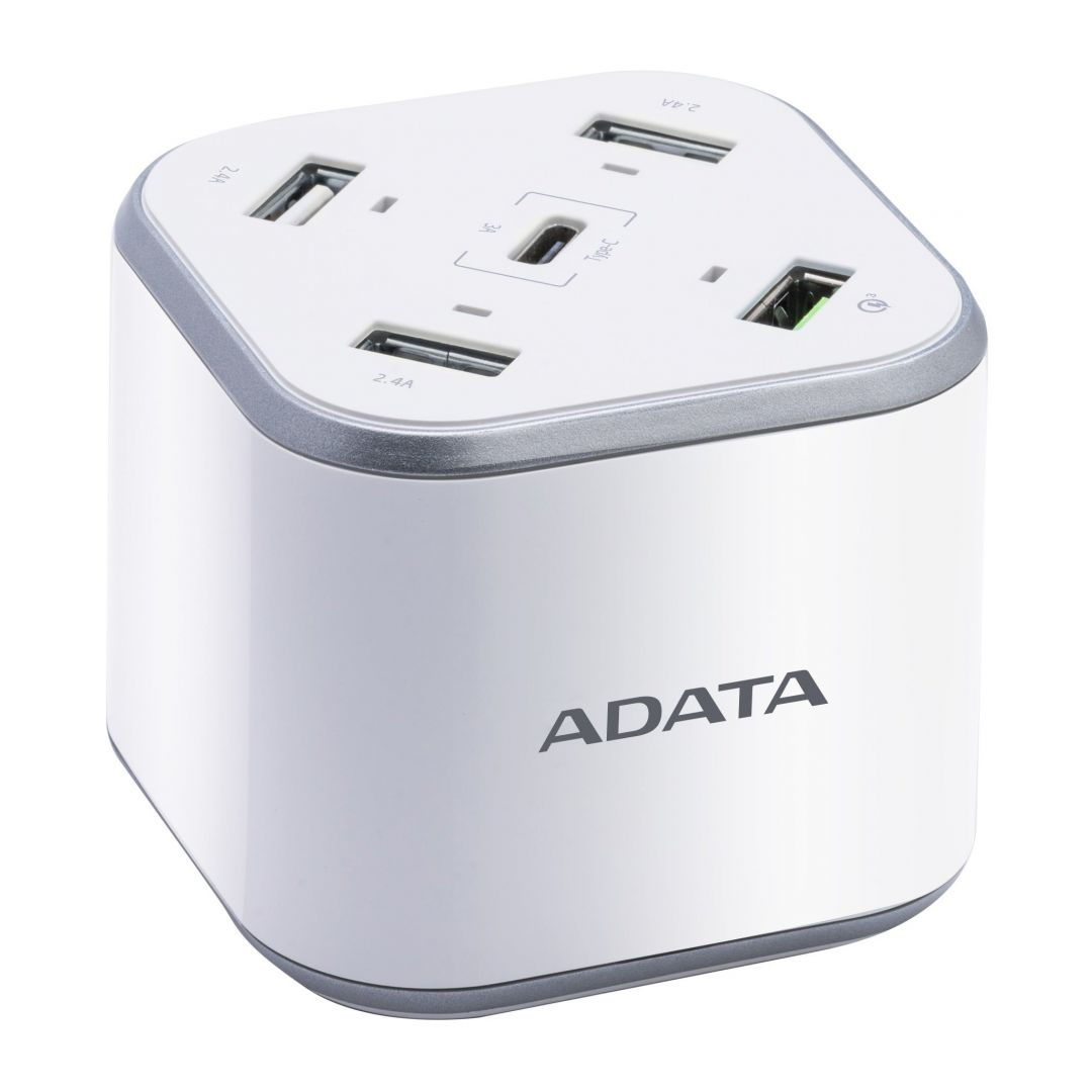 Adata 5 Port USB Charging Station with QC3.0 White
