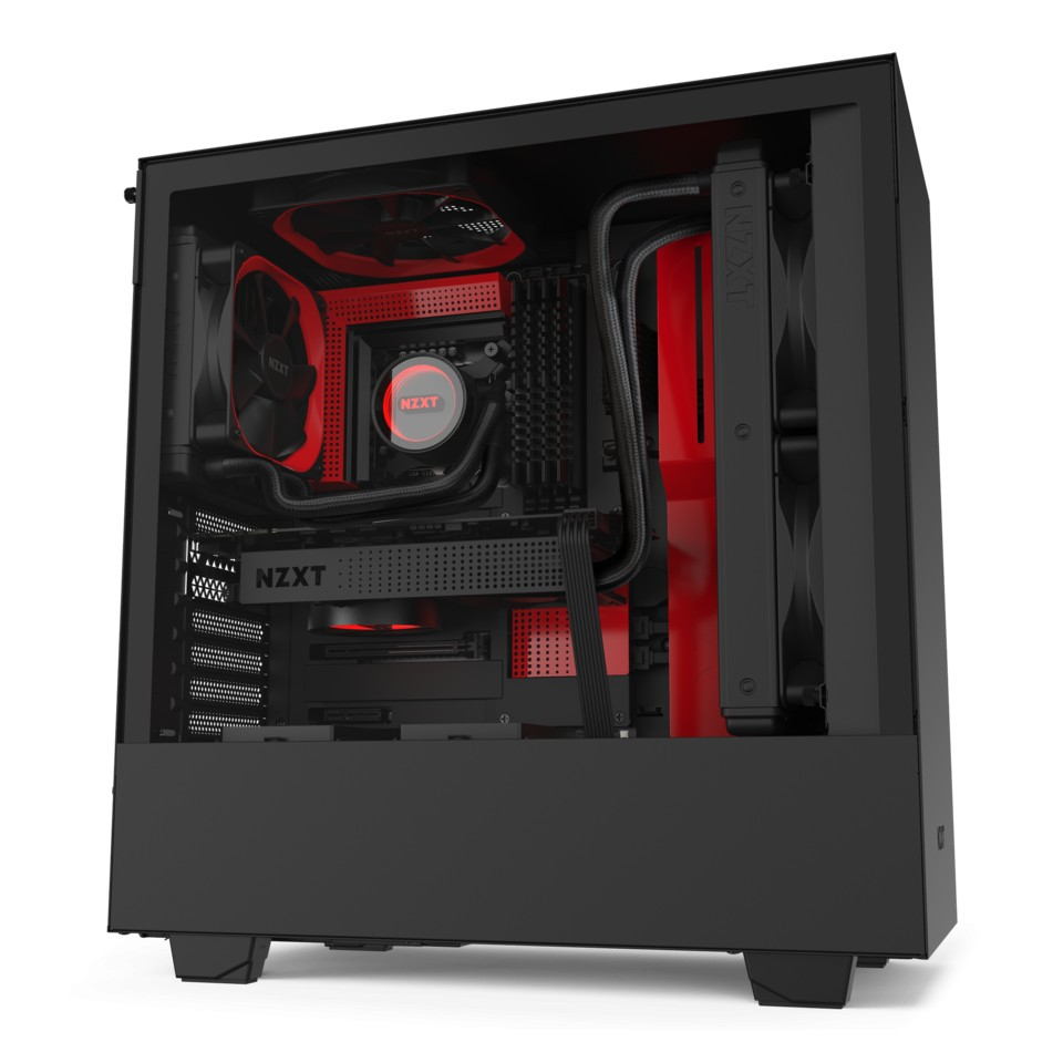 NZXT H510 Mid Tower Case Matte Black/Red
