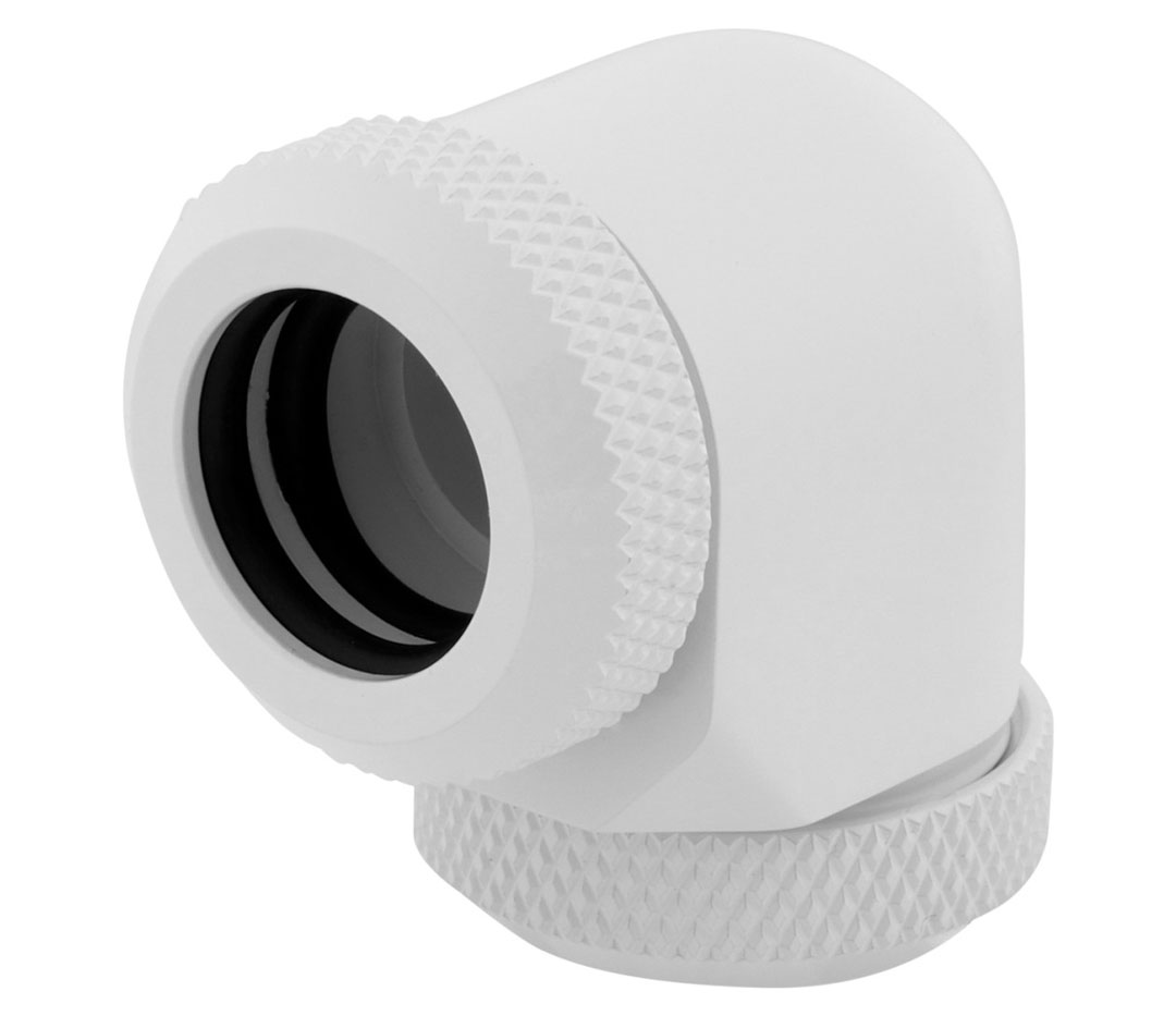 Corsair Hydro X Series XF HL 12mm OD 90 Deg Fittings White 2 Pk