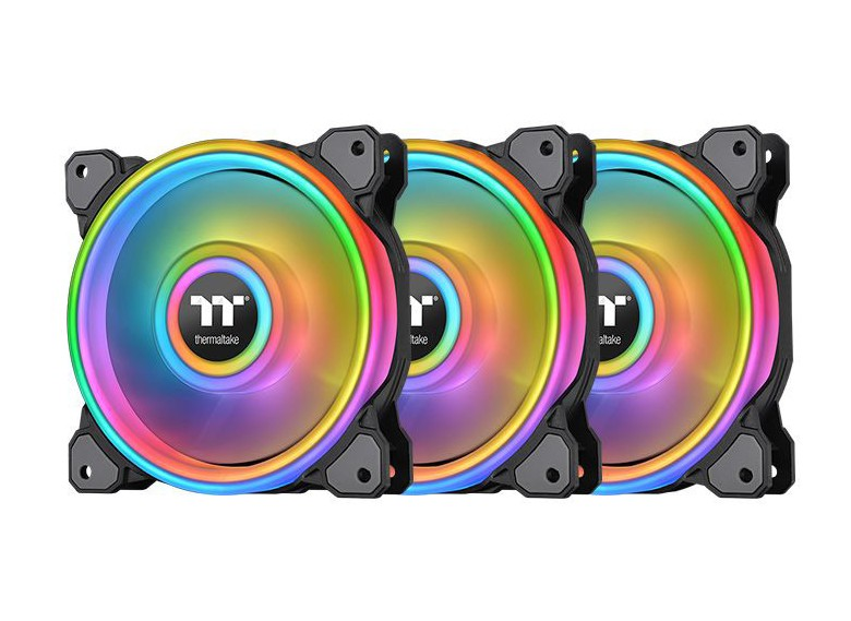 Thermaltake Riing Quad 14 RGB Radiator 140MM Fan 3 Pack Black