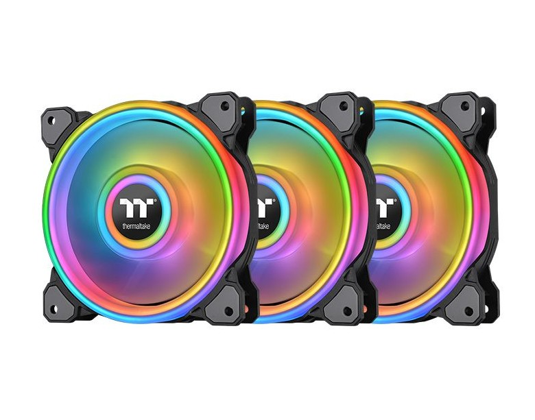 Thermaltake Riing Quad 12 RGB Radiator 120MM Fan 3 Pack Black